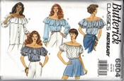 Butterick 6804 Off Shoulder Blouse Medium Sewing Pattern