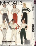 McCalls 9502 Classic Pants Pattern UNCUT
