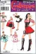 Simplicity 3618 Size RR Maid Nurse Pirate Costume Pattern