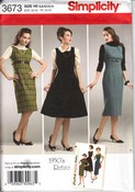 Simplicity 3673 Size H5 1950's Retro Dress Jumper Pattern