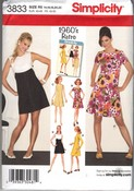 Simplicity 3833 R5 1960 Retro Dress Pattern UNCUT