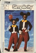 Simplicity 7729 Childs Mickey Mouse Costume Pattern