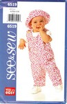 Butterick See & Sew 6519 Infant Jumpsuit Top Hat Pattern