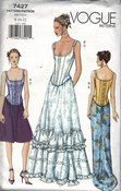 Vogue 7427 Corset Dress Pattern Steampunk UNCUT