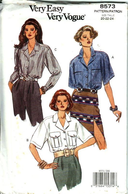Vogue 8573 Large Size Blouse Pattern UNCUT
