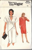 Vogue 8972 Asymmetrical Dress Pattern Size 12 UNCUT