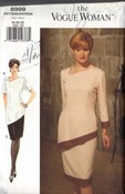 Vogue 8998 Top Skirt Slanted Design Pattern UNCUT 18-20-22