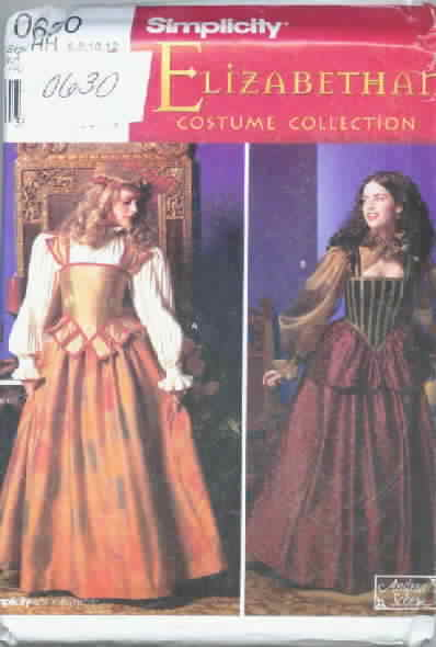 Simplicity 0630 Elizabethan Gown Costume Pattern