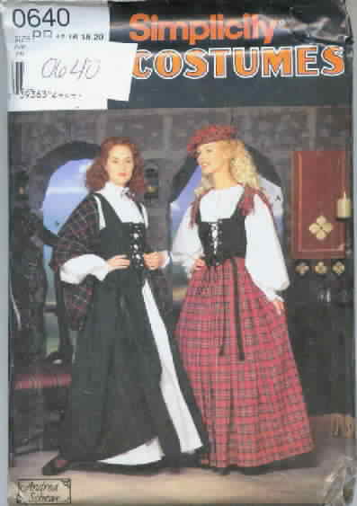 Simplicity 0640 RR Scottish Gown Costume Pattern