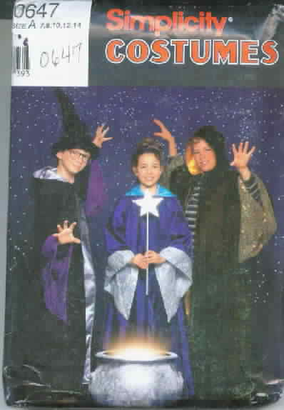 Simplicity 0647 Girl and Boy Wizard Pattern Costume