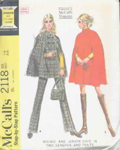 McCall's 2118 Vintage Pattern Cape and Pants
