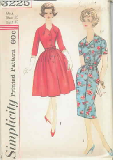 Simplicity 3225 Vintage Dress Pattern, Two Styles