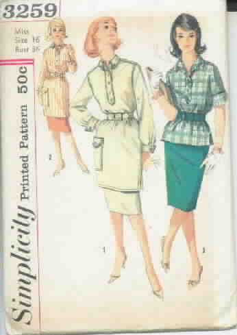 Simplicity 3259 60's Tunic and Skirt Pattern - Uncut Sz 16