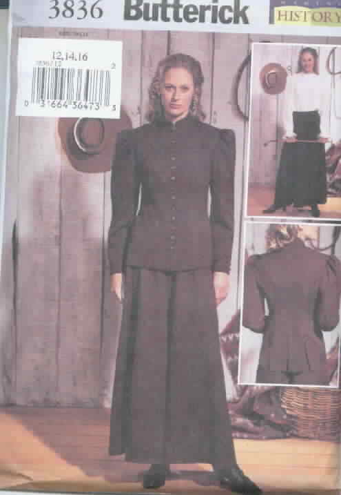 Butterick 3836 Western Historical Costume Med/Large