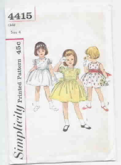 Charming Vintage Little Girl's Dress Pattern Simplicity 4415