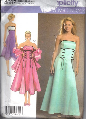 Simplicity 4687 Jessica McClintock Party Prom Dress Pattern UNCU