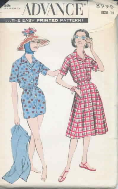 Advance 8990 Vintage Pattern Playsuit and Skirt