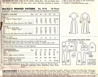 McCalls 9170 Dress Pattern, Circa 1952, Size 18-1/2, Uncut