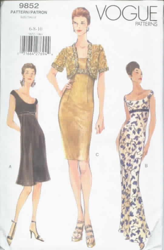 Vogue 9852 Evening Jacket Dress Sewing Pattern UNCUT [1002109852 ...