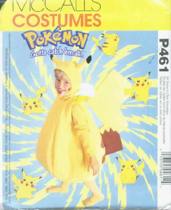 McCall's P461 Pokeman Costume Boys Girls All Sizes