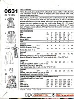 Simplicity 0631 Size A Wizard of Oz Costume Pattern UNCUT