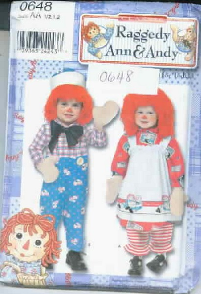 Simplicity 0648 Raggedy Ann Andy Pattern Size AA